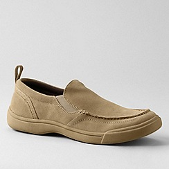 Lands' End - Beige men's lowry suede slip-on shoes