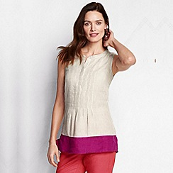 Lands' End - Beige women's colourblock linen shell
