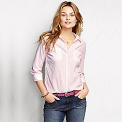 Lands' End - Pink women's regular roll-sleeve seersucker shirt