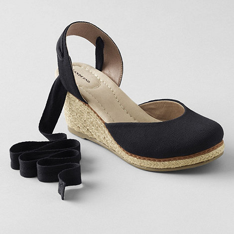 Lands+ End - Black women+s cara ankle-tie wedge sandals
