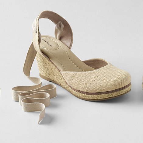Lands+ End - Beige women+s cara ankle-tie wedge sandals