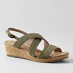 Lands' End - Green women's perri cork wedge sandals - Regular Fit