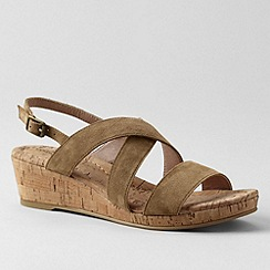 Lands' End - Brown women's perri cork wedge sandals