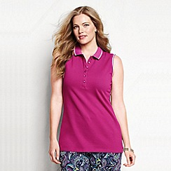 Lands' End - Pink women's plus sleeveless tipped collar pique polo