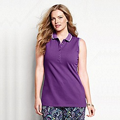 Lands' End - Purple women's plus sleeveless tipped collar pique polo