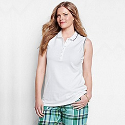 Lands' End - White women's plus sleeveless tipped collar pique polo