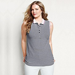 Lands' End - Blue women's plus sleeveless striped tipped collar pique polo