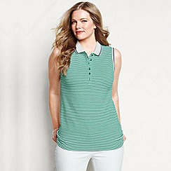 Lands' End - Green women's plus sleeveless striped tipped collar pique polo