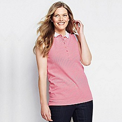 Lands' End - Pink women's plus sleeveless striped tipped collar pique polo
