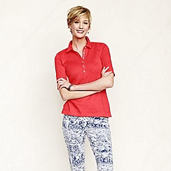 Lands' End - Pink women's slim fit pima polo