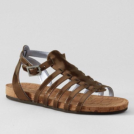 Lands+ End - Brown girls+ elektra gladiator sandals