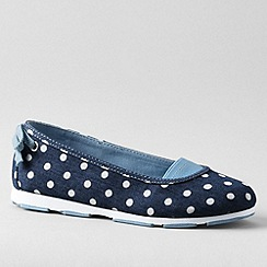 Lands' End - Blue girls' alpargata bow slip-on shoes