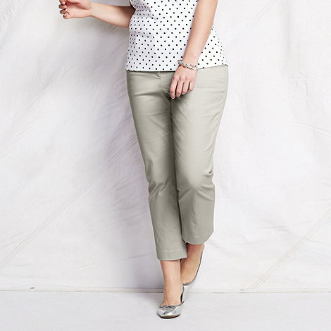 Lands+ End - Beige women+s plus plain crop chinos