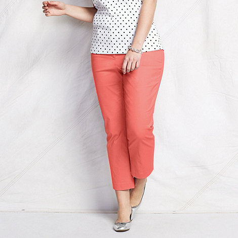 Lands+ End - Pink women+s plus plain crop chinos