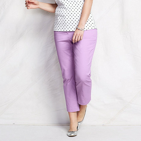 Lands+ End - Purple women+s plus plain crop chinos
