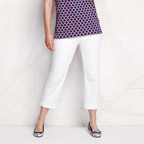 Lands+ End - White women+s plus plain crop chinos