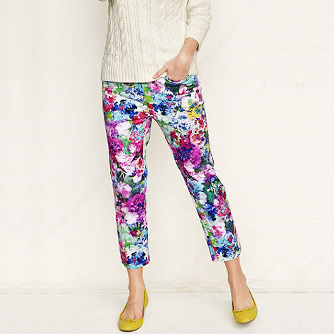 Lands+ End - Multi women+s regular multi garden floral print crop chinos