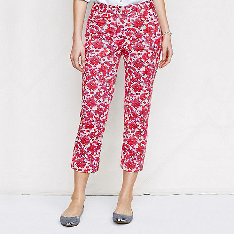 Lands+ End - Pink women+s petite floral print crop chinos