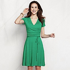 Lands' End - Green women's regular ruched wrap jersey dress