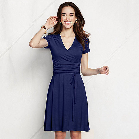 Lands+ End - Blue women+s regular ruched wrap jersey dress