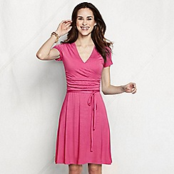 Lands' End - Pink women's regular ruched wrap jersey dress