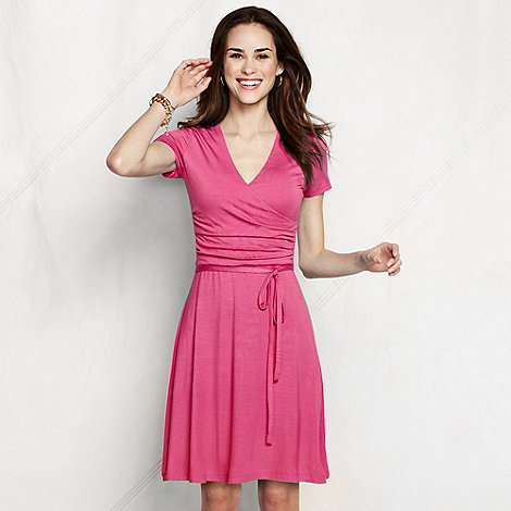 Lands+ End - Pink women+s regular ruched wrap jersey dress