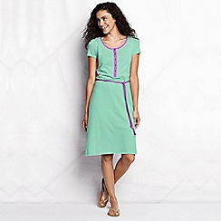 Lands' End - Green women's regular striped henley dress