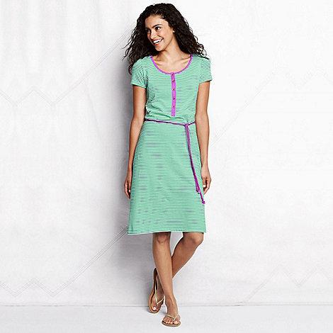 Lands+ End - Green women+s regular striped henley dress