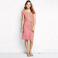 Lands' End - Pink women's regular striped henley dress
