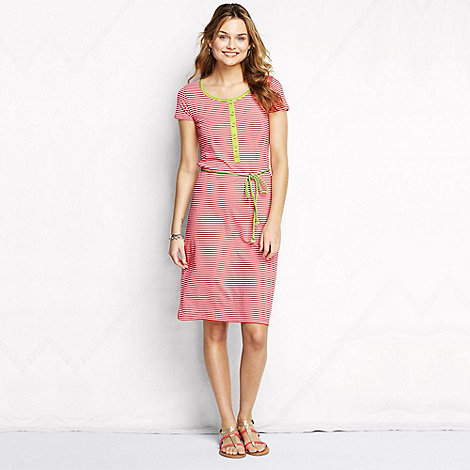 Lands+ End - Pink women+s regular striped henley dress
