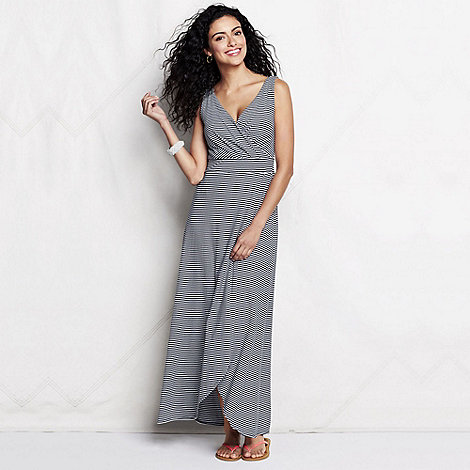 Lands+ End - Blue women+s regular striped tulip hem maxi dress