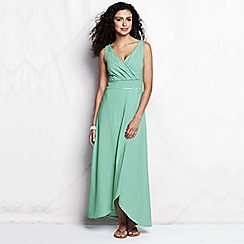 Lands' End - Green women's regular striped tulip hem maxi dress