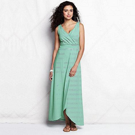Lands+ End - Green women+s regular striped tulip hem maxi dress