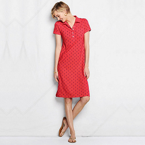 Lands+ End - Red women+s regular nautical pique polo dress