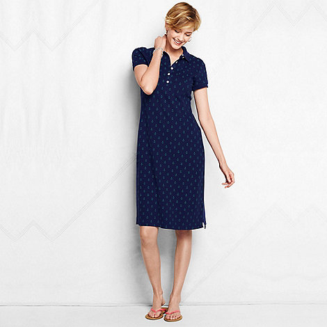 Lands+ End - Blue women+s regular nautical pique polo dress