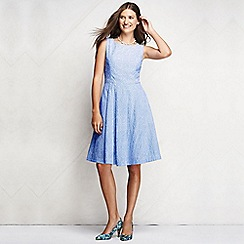 Lands' End - Blue women's regular broderie anglaise open back dress