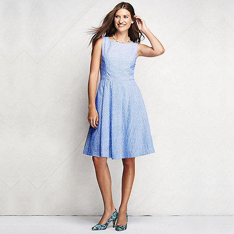 Lands+ End - Blue women+s regular broderie anglaise open back dress