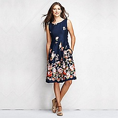 Lands' End - Blue women's patterned linen open back dress