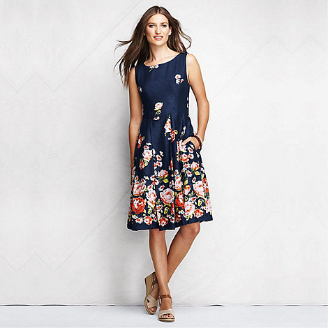 Lands+ End - Blue women+s patterned linen open back dress