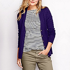 Lands' End - Purple women's cotton cable v-neck cardigan