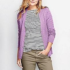 Lands' End - Purple women's cotton cable v-neck cardigan
