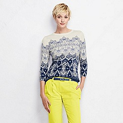 Lands' End - Multi women's supima three-quarter sleeve crew neck pattern jumper