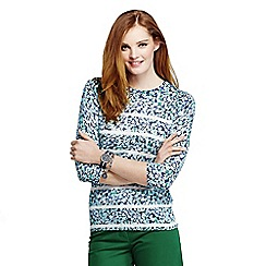 Lands' End - Blue women's petite supima three-quarter sleeve crew neck pattern jumper