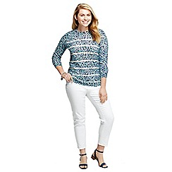 Lands' End - Blue women's plus supima three-quarter sleeve crew neck pattern jumper