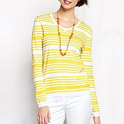 Lands' End - Yellow women's regular supima striped v-neck jumper