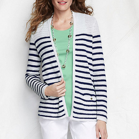 Lands+ End - Blue women+s regular striped linen/cotton open cardigan