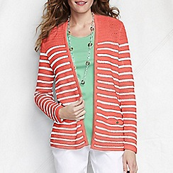 Lands' End - Orange women's regular striped linen/cotton open cardigan