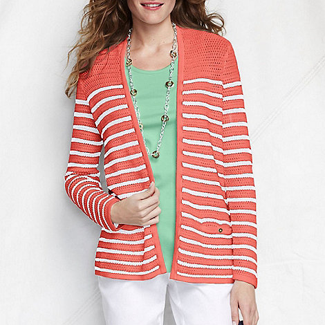 Lands+ End - Orange women+s regular striped linen/cotton open cardigan