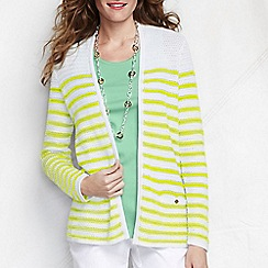 Lands' End - Yellow women's regular striped linen/cotton open cardigan