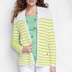 Lands' End - Yellow women's regular striped linen/cotton open cardigan